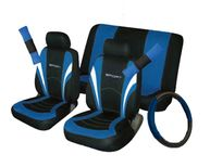 Car Seat, Steering Wheel & Seatbelt Cover Sport Full Set - Black/Blue