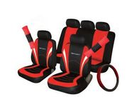 Car Seat, Steering Wheel & Seatbelt Cover Sport Full Set - Black/Red