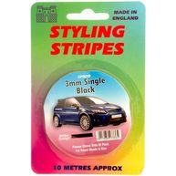 CASTLE PROMOTIONS Single Stripe - Black - 3mm - 10m Length