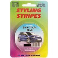 CASTLE PROMOTIONS Single Stripe - Black - 6mm - 10m Length