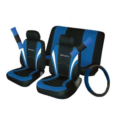 COSMOS Car Seat, Steering Wheel & Seatbelt Cover Sport - Set - Black/Blue