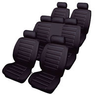 COSMOS Car Seat Covers - Leatherlook - 7 Seater Set with Bench - Black