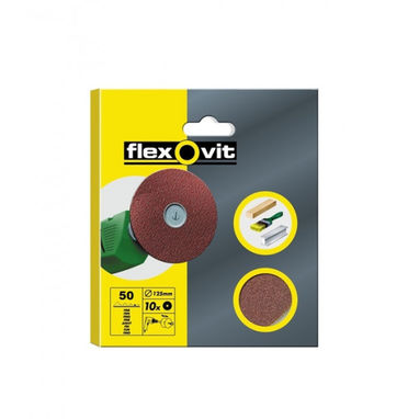 FLEXOVIT High Performance Aluminium Oxide Discs - Drill Mountable - P50 - 125mm - Pack Of 10