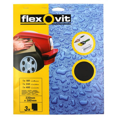 FLEXOVIT Wet & Dry Paper - Assorted - Pack Of 3