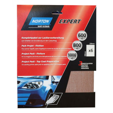 NORTON Norton Project Pack - Topcoat Preparation - Pack of 6 Sanding Sheets