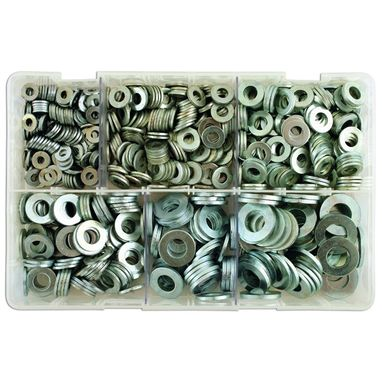 CONNECT Zinc Plated Washers - Table 3 Flat - Assorted - Box Qty 800
