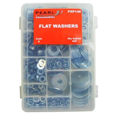 PEARL CONSUMABLES Zinc Plated Washers - Flat - Assorted - Pack Of 800