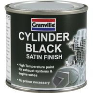 GRANVILLE High Temperature Cylinder Paint - Black Satin - 250ml