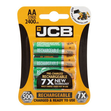 JCB Rechargeable AA Batteries - 2400mAh - Pack of 4