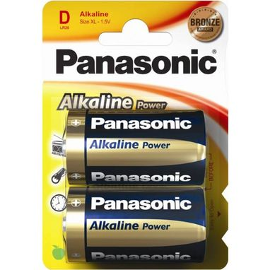 PANASONIC Alkaline Power D Batteries - Pack of 2