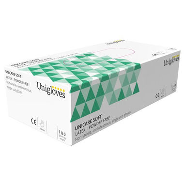 UNICARE Latex Powder Free Gloves - Medium - Pack of 100