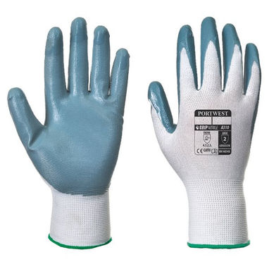 PORTWEST Flexo Nitrile Grip Glove - Grey & White -  X Large - Pack of 12