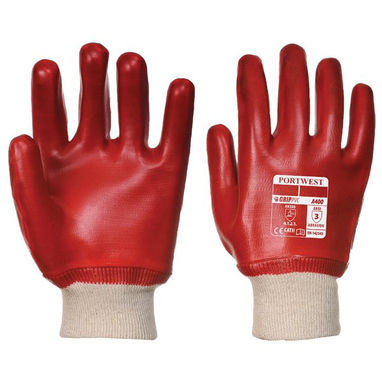 PORTWEST PVC Knitwrist Dipped Gloves - Red - Large