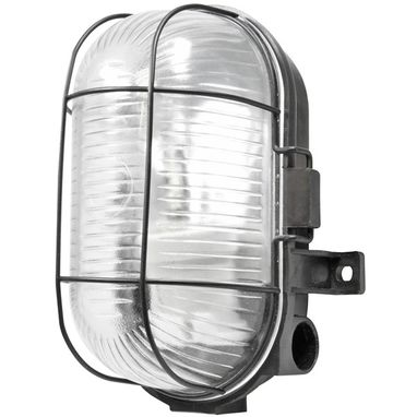 POWERMASTER Oval Caged Bulkhead Light - Black - 60W