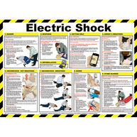 SAFETY FIRST AID Electric Shock Treatment Guidance Poster - 59cm x 42cm