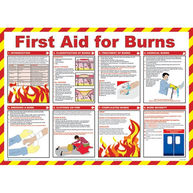 SAFETY FIRST AID First Aid For Burns Poster - 59cm x 42cm