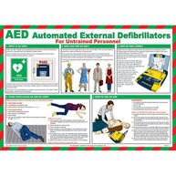 SAFETY FIRST AID Defibrillator Guide Poster For Untrained Personnel - 59cm x 42cm