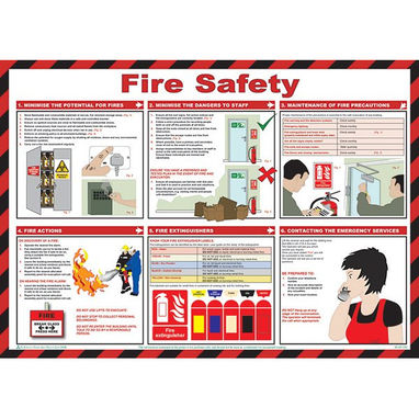 SAFETY FIRST AID Fire Safety Poster - 59cm x 42cm