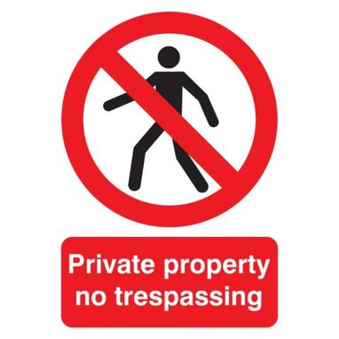 SIGNS & LABELS Private Property Sign - Rigid Polypropylene - 210mm x 148mm
