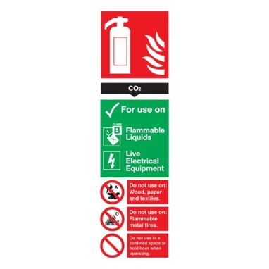 SIGNS & LABELS CO2 Fire Extinguisher Sign - Rigid Polypropylene - 300mm x 100mm