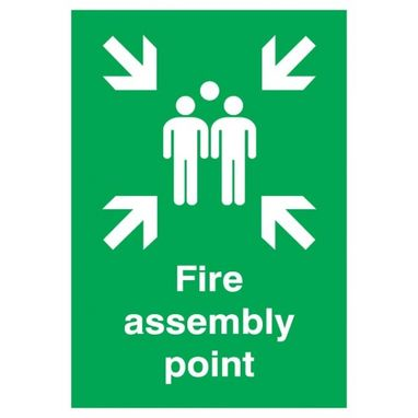SIGNS & LABELS Fire Assembly Point Sign - Rigid Polypropylene - 420mm x 297mm