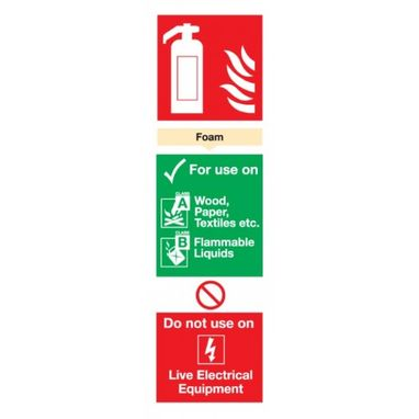 SIGNS & LABELS Foam Fire Extinguisher Sign - Rigid Polypropylene - 300mm x 100mm