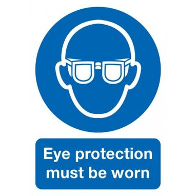 SIGNS & LABELS Eye Protection Must Be Worn Sign - Rigid Polypropylene - 297mm x 210mm