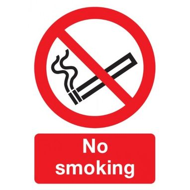 SIGNS & LABELS No Smoking Sign - Rigid Polypropylene - 210mm x 148mm