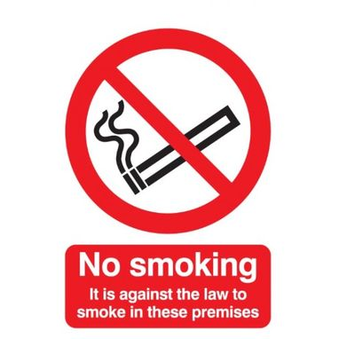 SIGNS & LABELS No Smoking (Legally Required) Sign - Rigid Polypropylene - 210mm x 148mm