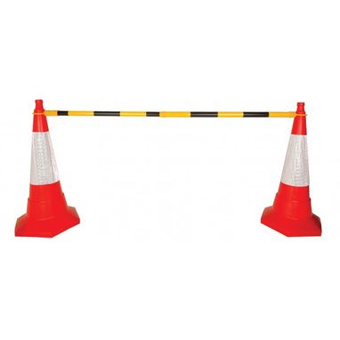 SIGNS & LABELS Retractable Cone Bar Barrier - Yellow/Black