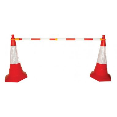 SIGNS & LABELS Retractable Cone Bar Barrier - Red/White