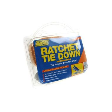 MAYPOLE Ratchet Tie Down Strap & Hooks - 4.5m x 38mm